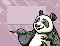 Cartoon panda and bambpoo leaves Royalty Free Stock Image
