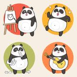 Cartoon Panda. Bear Character. Creative hobbies set. Vector illustration Royalty Free Stock Photo