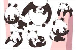 Cartoon panda bear set Stock Photography