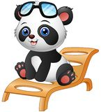 Cartoon panda bear sitting on deck chair  on white background Stock Photos