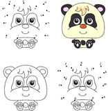 Cartoon panda. Coloring book and dot to dot game for kids Royalty Free Stock Images