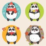 Cartoon Panda. Cute cartoon Panda Bear Character and the four seasons: winter, spring, summer and autumn. Vector illustration Stock Image