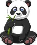 Cartoon panda eating bamboo. Illustration of Cartoon panda eating bamboo Stock Photography