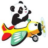 Cartoon panda flying with plane Royalty Free Stock Image