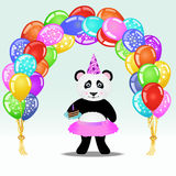 Cartoon panda girl in party hat with birthday cake standing under birthday balloon arch. Birthday background. Royalty Free Stock Photo