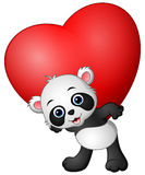 Cartoon panda hold red heart Royalty Free Stock Photography