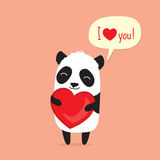 Cartoon panda holding heart and saying I love you in speech bubble. Greeting card for Valentine`s Day stock illustration