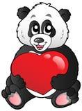 Cartoon panda holding red heart stock images