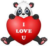Cartoon panda holding red heart Stock Photo