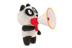 A cartoon panda and megaphone,3D illustration. Royalty Free Stock Photo