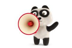 A cartoon panda and megaphone,3D illustration. Royalty Free Stock Photography