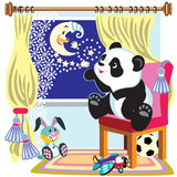 Cartoon panda and moon Stock Photos