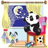 Cartoon panda and moon vector illustration