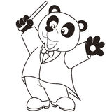 Cartoon Panda music conductor. Stock Images