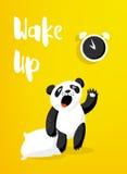 Cartoon panda with pillow wakes up. Good morning card with alarm clock and bear. Vector illustration Stock Photos