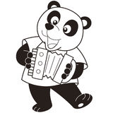 Cartoon panda playing an accordion Stock Photography