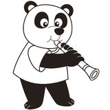 Cartoon panda playing a clarinet Royalty Free Stock Photography