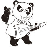 Cartoon Panda Playing an Electric Guitar Stock Photography