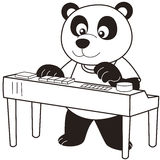 Cartoon Panda Playing an Electronic Organ Royalty Free Stock Images