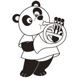 Cartoon Panda Playing a French Horn Stock Images