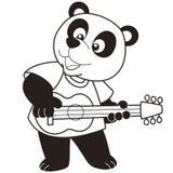 Cartoon panda playing a guitar. Black and white Royalty Free Stock Photo