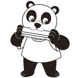 Cartoon Panda Playing a Harmonica Stock Image