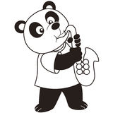 Cartoon panda playing a saxophone Stock Photography