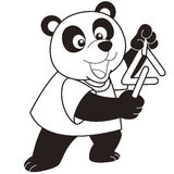 Cartoon panda playing a triangle Stock Photos