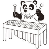 Cartoon panda playing a vibraphone Royalty Free Stock Photos