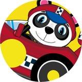 Cartoon Panda in Racing Car Royalty Free Stock Photography