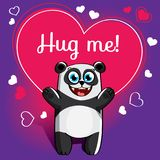 Cartoon panda ready for a hugging stock illustration