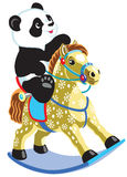 Cartoon panda riding rocking horse Stock Image