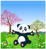 Cartoon panda sitting and at the zoo Stock Photography