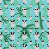 Cartoon panda symmetry bamboo leaf seamless pattern Stock Photos