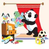 Cartoon panda with toys stock illustration