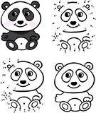 Cartoon panda. Vector illustration. Coloring and dot to dot game Royalty Free Stock Photos