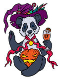 Cartoon panda in witches hat sitting Royalty Free Stock Photography