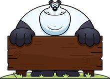 Cartoon Panda Wood Sign Royalty Free Stock Photo