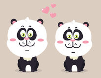 Cartoon pandas. Royalty Free Stock Photos