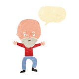 Cartoon panicking old man with speech bubble Royalty Free Stock Image