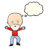 Cartoon panicking old man with thought bubble Stock Photo