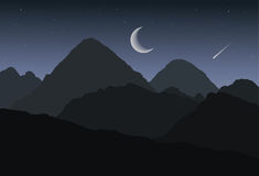 Cartoon panoramic view of mountain landscape and valley for winter or summer night under dark gray sky with stars, crescent moon a Stock Photos