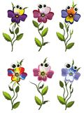 Cartoon pansies Stock Photos