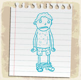 Cartoon pants off on paper note, vector illustration Stock Photo