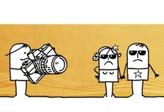 Cartoon paparazzi and couple of star people. Illustration Royalty Free Stock Photo
