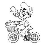 Cartoon paper boy by bike. Outline Royalty Free Stock Photo