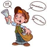 Cartoon paper boy yelling vector illustration