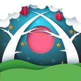 Cartoon paper forest night landscape. Moon, cloud, sun, tree. Cartoon paper forest night landscape. Moon, cloud, sun, tree Vector eps 10 Royalty Free Stock Photo