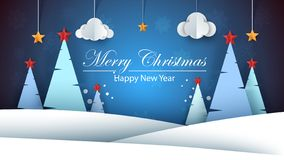 Cartoon paper happy new year. Merry christmas. royalty free illustration