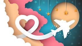 Cartoon paper landscape. Airplane illustration. Stock Photos